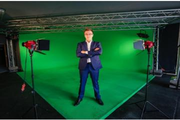 Host set up with green screen