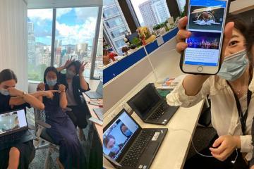 Teams doing online virtual team building virtual
