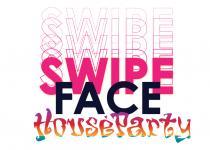 Swipe face house party logo