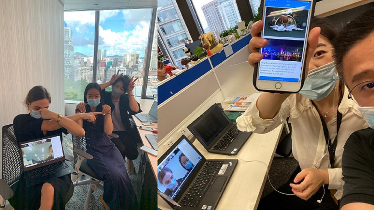 Teams doing online virtual team building