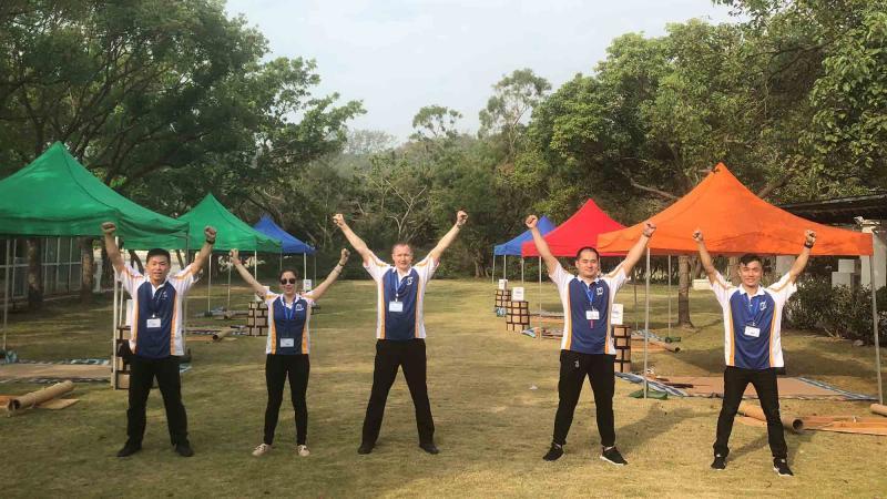 team building asia company staff happy