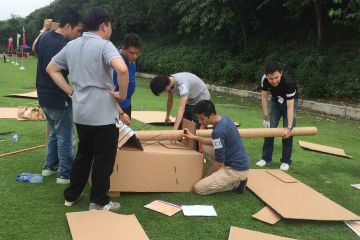 team collaborate to complete flat out rickshaw rally team building fun activity