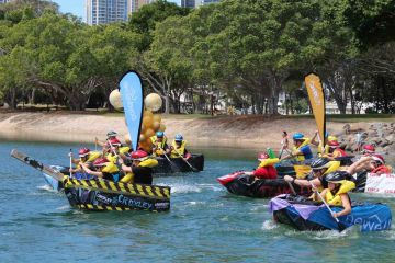 flat out afloat fun team building challenge