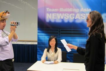 news cast team building corporate activity