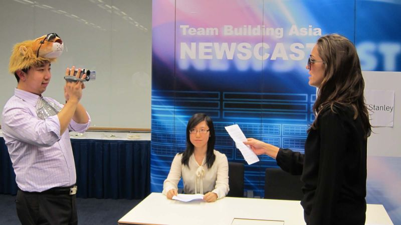 news cast team building corporate activity