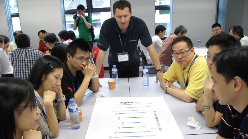 team discuss shared company values
