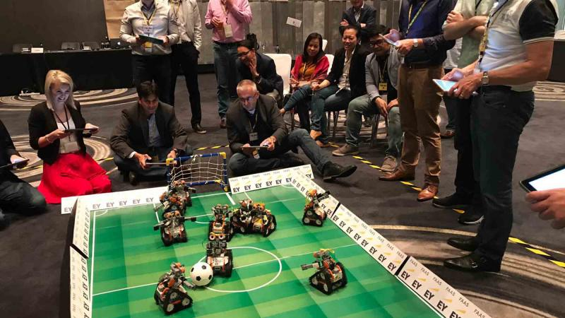 robot team building with EY