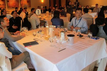 employees enjoying a corporate dinner event