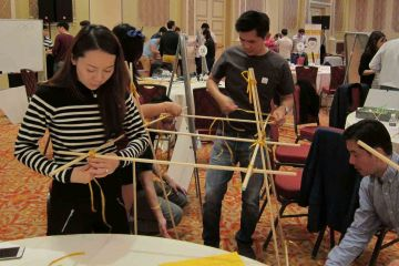 team collaborate to build a giant bridge