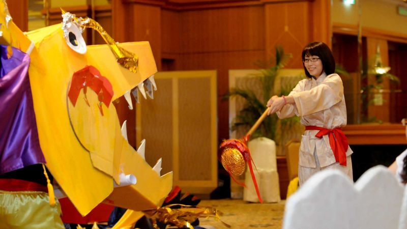 dragon squad team building woman with dragon