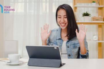 girl having fun in online team meeting