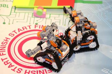 team building activity with robots